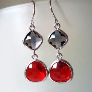 Charcoal Grey and Red Earrings. Red..