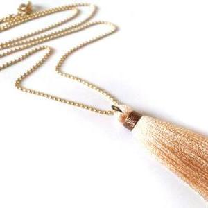Tassel Fringe Necklace. Nude and Go..
