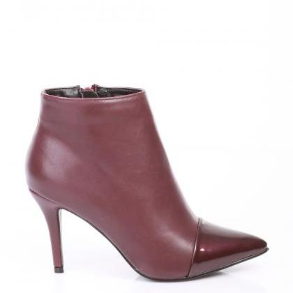 Burgundy Red High Heel Boots. Marsa..