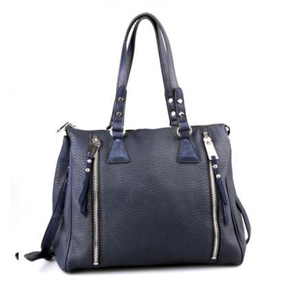 Blue Handbag. Navy Blue Purse. Clas..