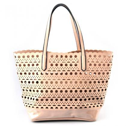 Pale Coral Leather Handbag. Strawbe..