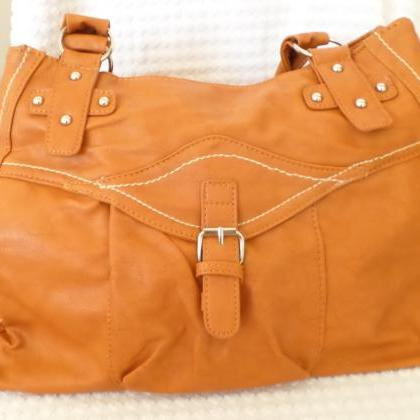 Tan Leather Tote. Leather Satchel. ..