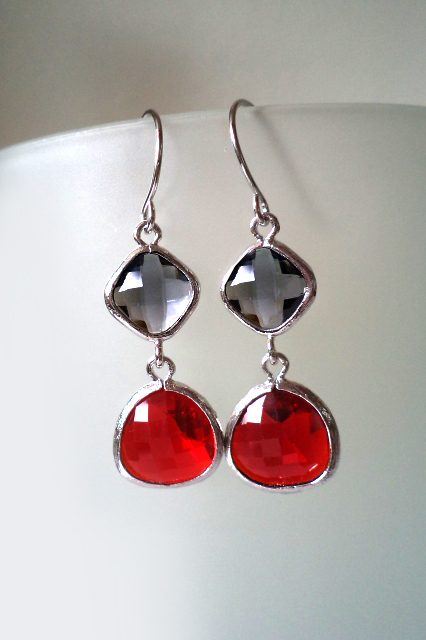 Charcoal Grey and Red Earrings. Red and Black Chandeliers. Red and Grey Dangles. Silver Dangles. Silver Earrings. Silver Chandeliers. Bridal, Bridesmaids Gift. Wedding Jewelry.