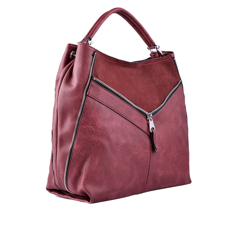 Leather Tote Bag with Zip Detailing