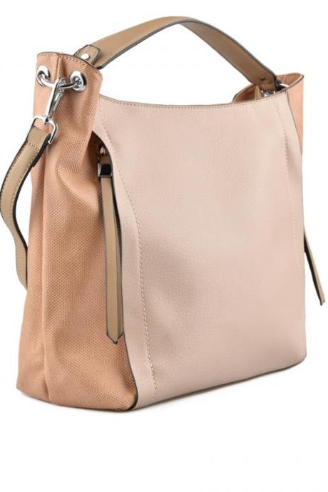 Strawberry Ice Beige Handbag. Pastel Handbag. Beige Satchel. Pale Pink Hobo. Beige Purse.