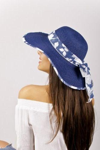 Blue Straw Summer Lady Hat