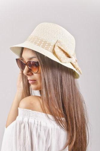 Cream Summer Straw Lady Hat