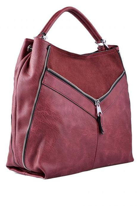 Leather Hanbag. Dark Red Handbag. Bordeaux Handbag.