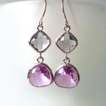 Charcoal and Purple Crystal Earrings. Lilac and Grey Dangles. Grey and Lavender Chandeliers. Bridal, Bridesmaids Gifts.