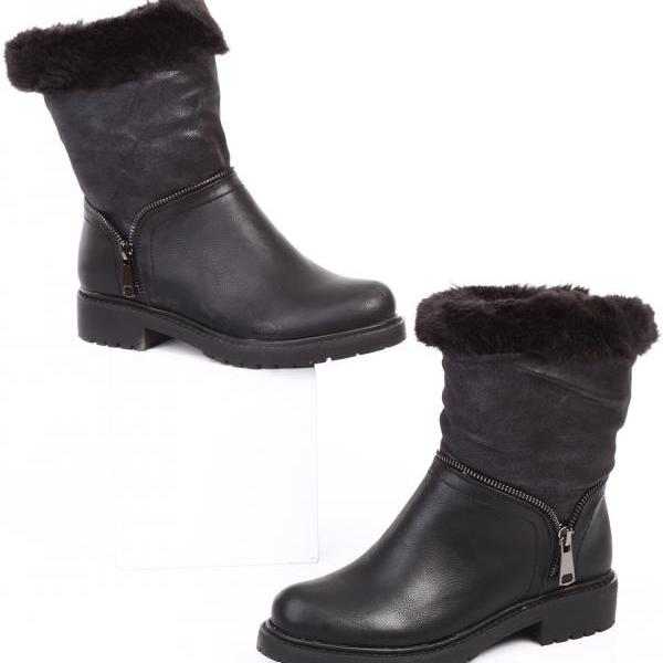 Black Leather Boots. Black Boots. Black Winter Boots.