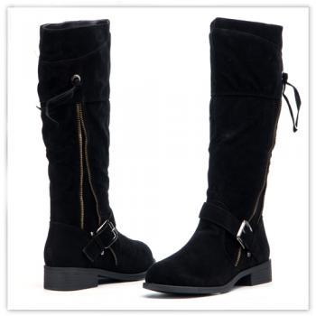 Black Suede Boots, Zipper Boots, Knee Boots, Black Boots, Winter Boots